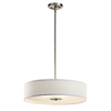 Portfolio 22-in W Aztec Brushed Nickel Pendant Light with Fabric Shade