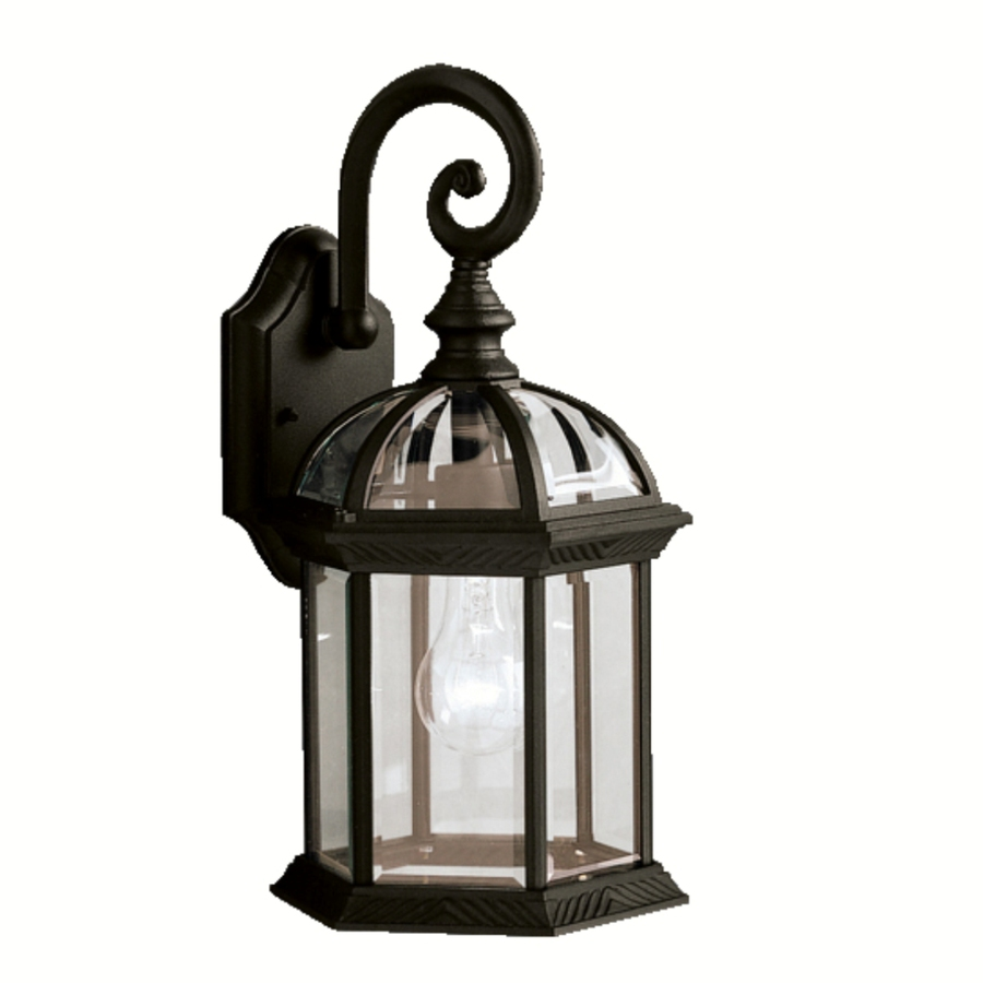 Shop Portfolio Barrie 15.5-in H Black Outdoor Wall Light at Lowes.com
