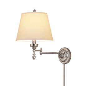 allen + roth 15-5/8-in Brushed Nickel Swing Arm Wall-Mounted Lamp with White Shade