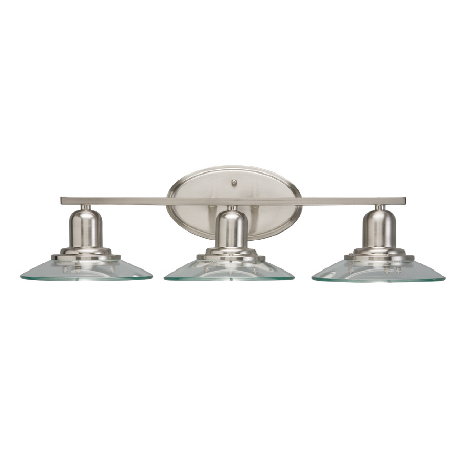 Shop allen roth 3 light galileo brushed nickel bathroom for Bathroom light fixtures lowes