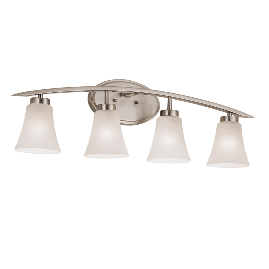 Lantern Bathroom Vanity Lights : Shop Portfolio 4-Light Lyndsay Brushed Nickel Standard Bathroom Vanity Light at Lowes.com