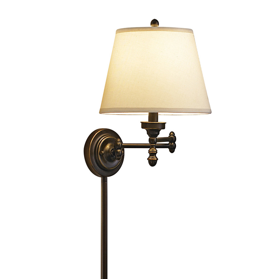 Wall Mounted Movable Lamp : Shop allen + roth 15.62-in H Oil-Rubbed Bronze Swing-Arm Wall-Mounted Lamp with Fabric Shade at ...