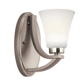Shop Portfolio Lyndsay 5-in W 1-Light Satin Nickel Arm Wall Sconce