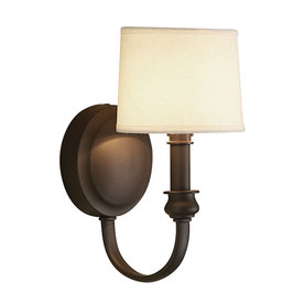 Shop allen + roth 5.5-in W 1-Light Olde Bronze Arm Hardwired Wall