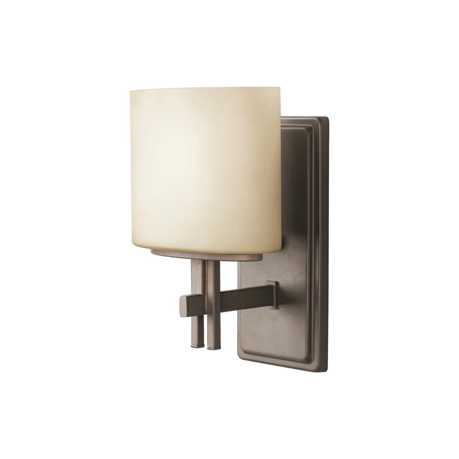 Shop Portfolio Delavan 7-in W 1-Light Olde Bronze Arm Hardwired Wall Sconce at Lowes.com