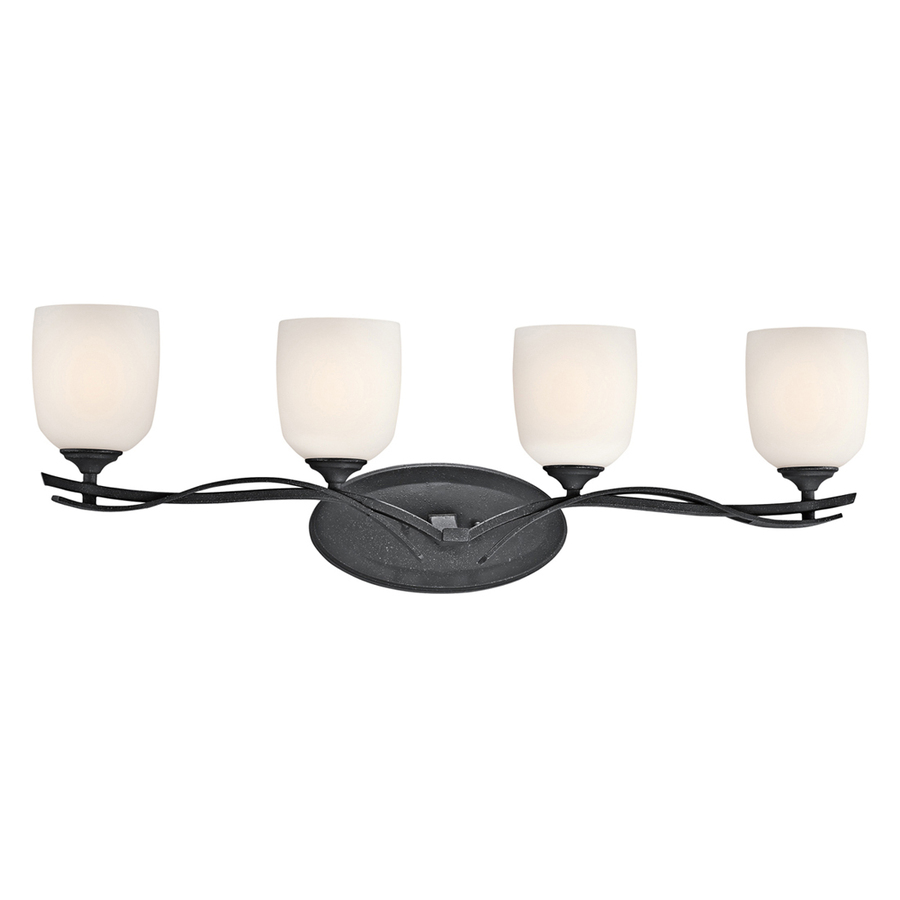 Black Bath Vanity Lights : Shop Portfolio 4-Light Breton Mills Distressed Black Bathroom Vanity Light at Lowes.com