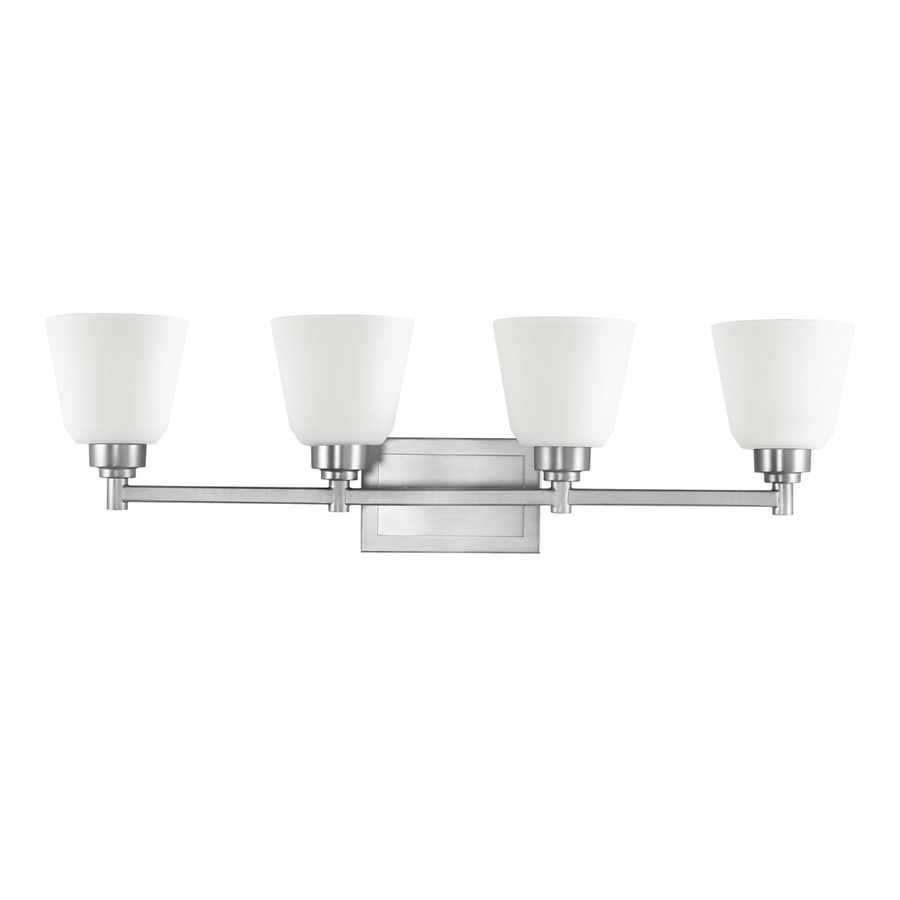 4 Light Brushed Nickel Vanity Lights : Shop Portfolio 4-Light Brushed Nickel Bathroom Vanity Light at Lowes.com