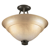 Portfolio 15-3/8-in W Libbe Antique Brass Frosted Glass Semi-Flush Mount Light