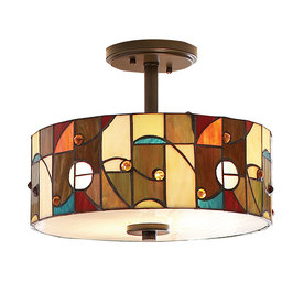 allen + roth 13-in W Aztec Mission Bronze Opalescent Glass Tiffany-Style Semi-Flush Mount Light