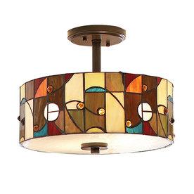 allen + roth Drakeston 13-in W Mission Bronze Opalescent Glass Tiffany-Style Semi-Flush Mount Light