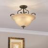 Portfolio Linkhorn 18-in W Iron Stone Frosted Glass Semi-Flush Mount Light