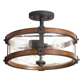 Kichler Lighting Barrington 14.02-in W Distressed Black and Wood Clear Glass Semi-Flush Mount Light