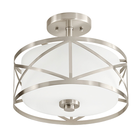 display product reviews for edenbrook 1138in w brushed nickel frosted glass semiflush