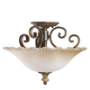 Portfolio 15-in W Golden Iridescent Oiled Bronze Frosted Glass Semi-Flush Mount Light