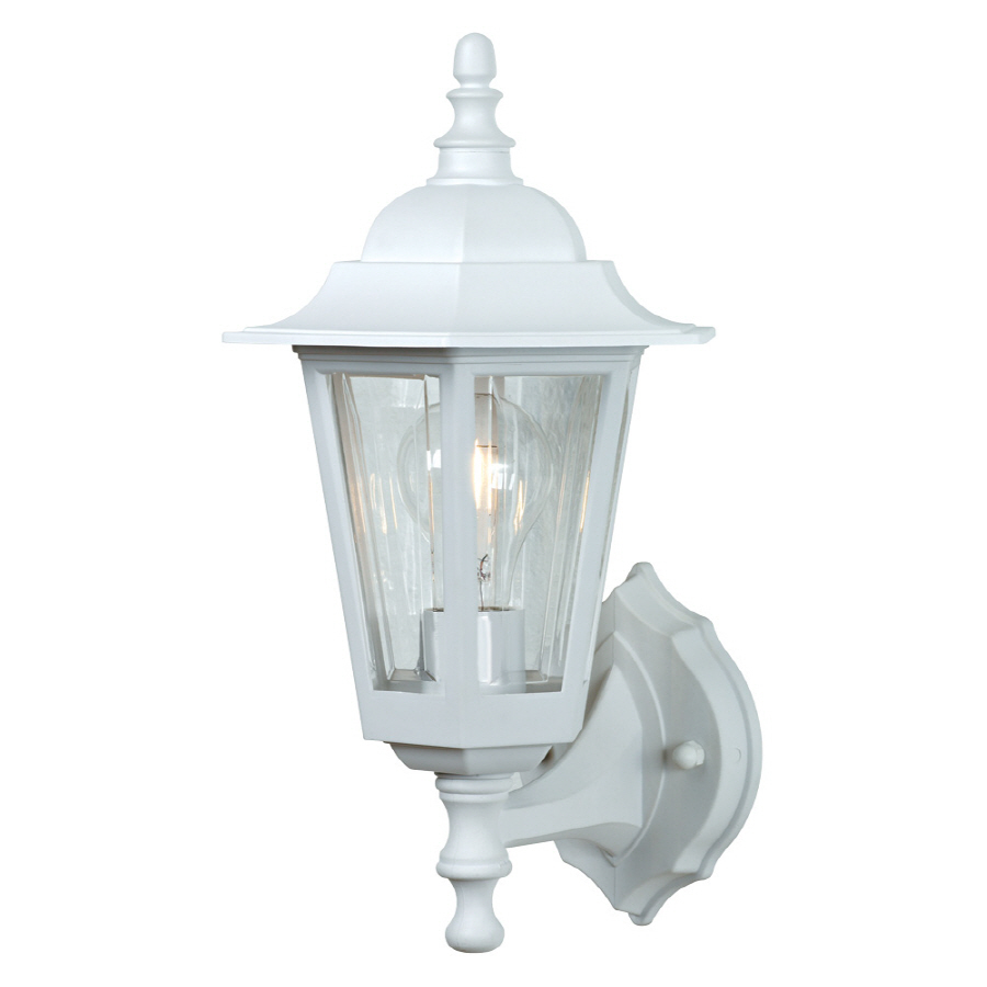 Outdoor Wall Light Fixtures Lowes : Shop Portfolio Aztec 14-in White Outdoor Wall Light at Lowes.com