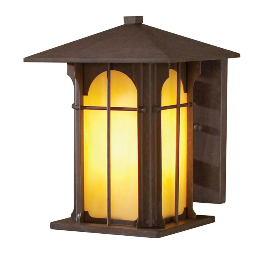 shop allen roth lindbergh 9 in h olde brick outdoor wall light at. Black Bedroom Furniture Sets. Home Design Ideas