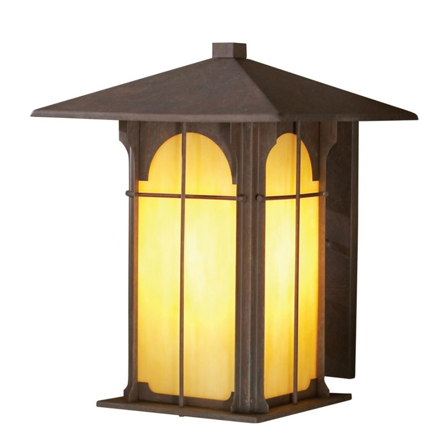 shop allen roth lindbergh 11 5 in h olde brick outdoor wall light at. Black Bedroom Furniture Sets. Home Design Ideas