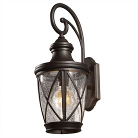 allen + roth Castine 20-2/8-in Rubbed Bronze Outdoor Wall Light