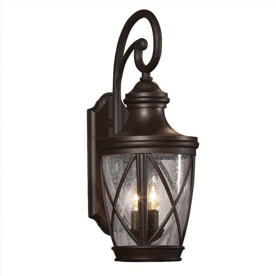 Wall Lamps From Lowes : Shop allen + roth Castine 23.75-in H Rubbed Bronze Outdoor Wall Light at Lowes.com