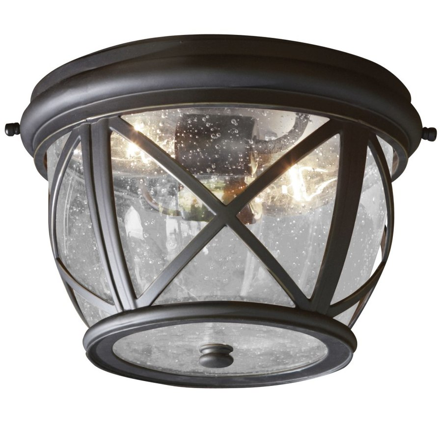 allen roth castine 10 9 in w rubbed bronze outdoor flush mount light. Black Bedroom Furniture Sets. Home Design Ideas