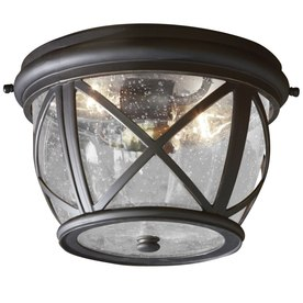 allen + roth Castine 10.9-in W Rubbed Bronze Outdoor Flush-Mount Light