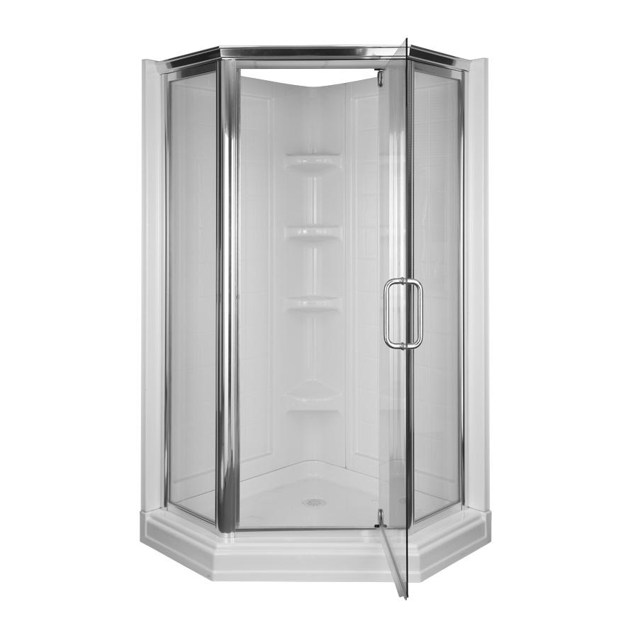Shop Aqua Glass 72 In H X 42 In W X 42 In L High Gloss White Neo Angle Corner