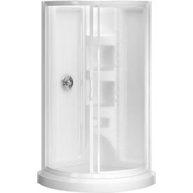 Shop Peerless High Gloss White Styrene Round 5 Piece Corner Shower Kit Actua