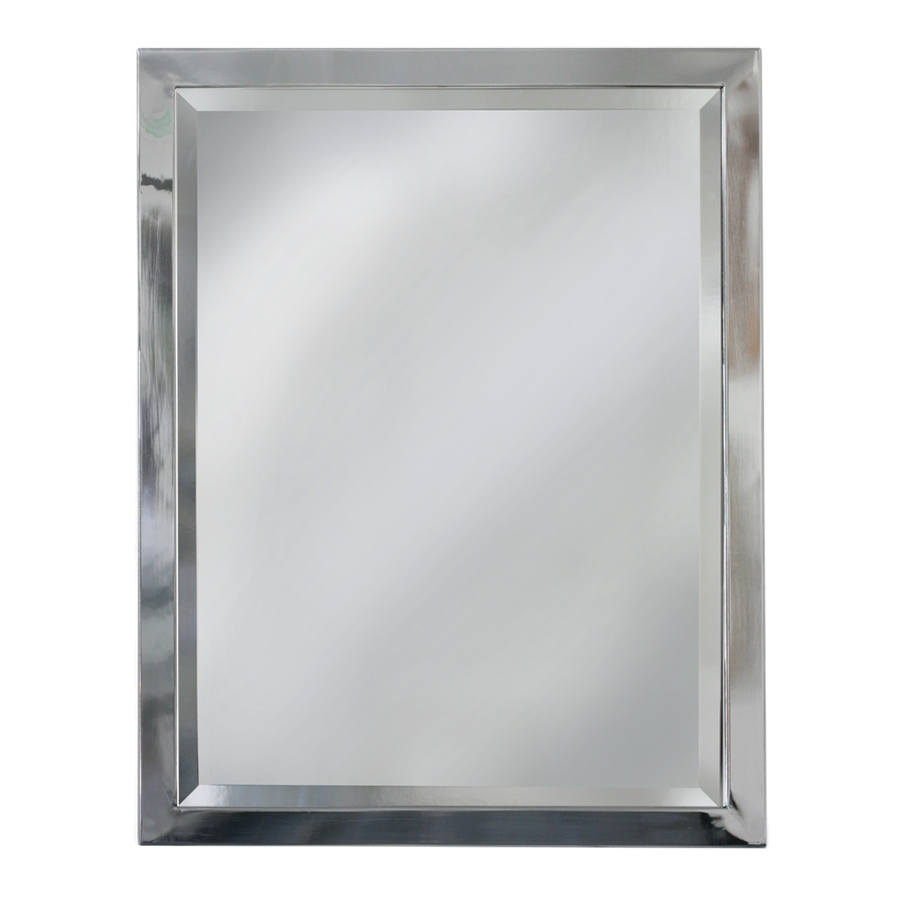 roth 30 in h x 24 in w chrome rectangular bathroom mirror at
