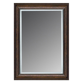 allen + roth 36-in x 46-in Copper Beveled Rectangle Framed French Wall Mirror