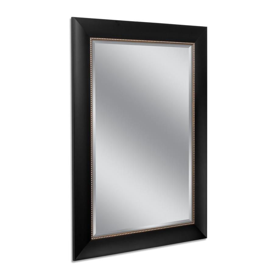 Shop allen roth 31 in x 43 in black and silver rectangle for Framed wall mirrors