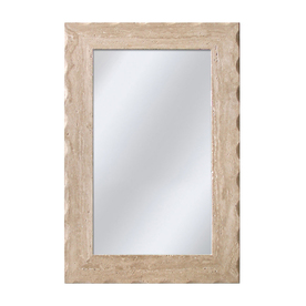 allen + roth 24-in x 36-in Travertine Beveled Rectangle Framed French Wall Mirror