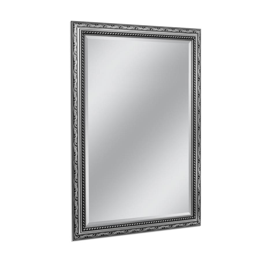 Shop style selections 29 in x 41 in silver rectangle for Mirror framed wall mirror