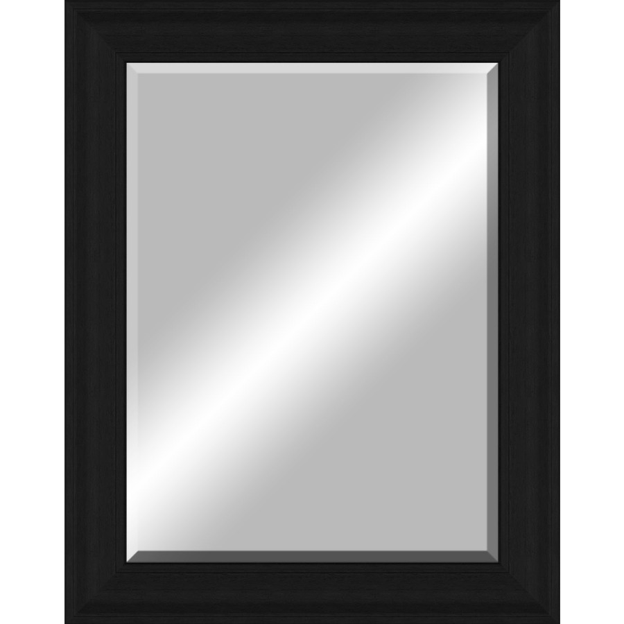 Shop 48 in x 38 in black beveled frame wall mirror at for Black wall mirror