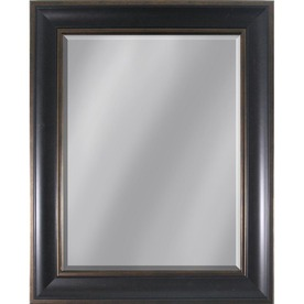 Style Selections 35-in x 29-in Dark Brown Rectangular Framed Mirror