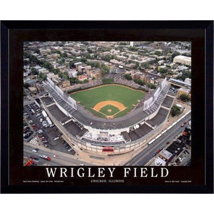 shop 26quotw x 32quoth wrigley field framed wall art at lowescom With kitchen cabinets lowes with baseball stadium wall art
