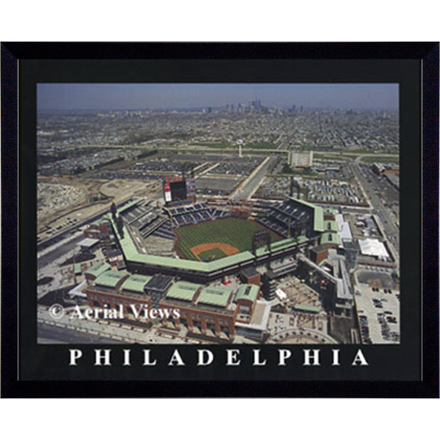 Shop 32 in w x 26 in h philadelphia phillies framed wall for Kitchen cabinets lowes with philadelphia wall art