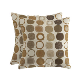 allen + roth Set of 2 Sunbrella Mankala Teak UV-Protected Square Outdoor Decorative Pillows
