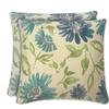 allen + roth Set of 2 Sunbrella Violetta Baltic UV-Protected Square Outdoor Decorative Pillows