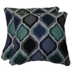 allen + roth 2-Pack Empire Cobalt Geometric Square Throw Outdoor Decorative Pillow