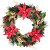 Holiday Living 30-in Unlit Poinsettia Artificial Christmas Wreath