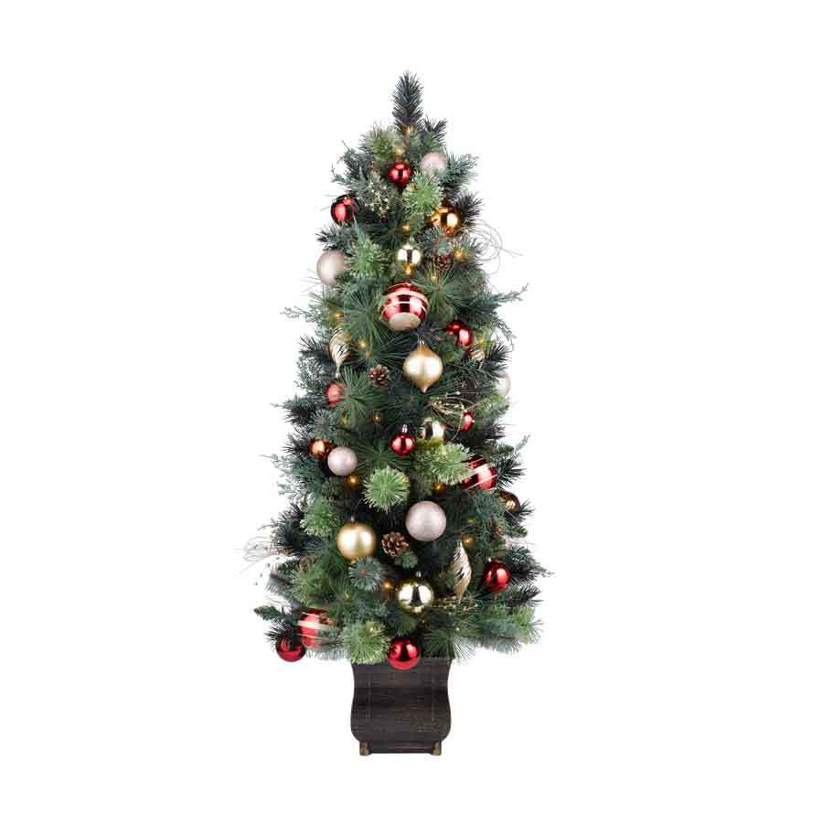 Shop Holiday Living 4.5-ft Indoor/Outdoor Pine Pre-Lit Decorative Artificial Tree 100 Clear ...