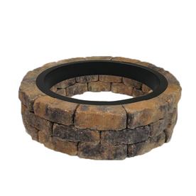 allen + roth Tan/Charcoal Flagstone Fire Pit Patio Block Project Kit