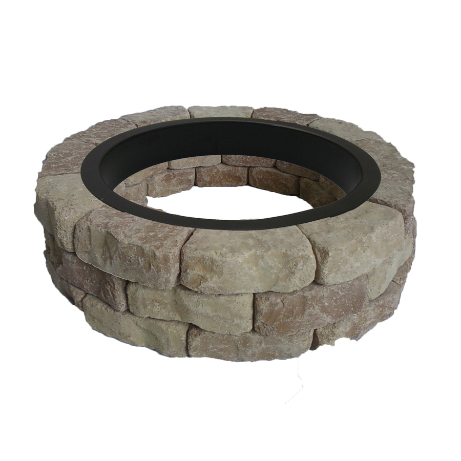 Shop allen roth sand beige flagstone fire pit patio for Lowes fire pit