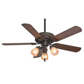 Casablanca Ainsworth Gallery 54-in Onyx Bengal Bronze Downrod or Close Mount Indoor Ceiling Fan with Light Kit