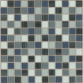 American Olean 12-in x 12-in Tropical Blue Glass Mosaic Square Wall Tile