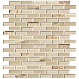 American Olean Delfino Glass Cornsilk Brick Mosaic Glass Wall Tile (Common: 12-in x 12-in; Actual: 11.87-in x 12.87-in)