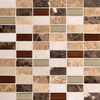 American Olean Park Trail Calico Blend Subway Mosaic Stone and Glass Wall Tile (Common: 12-in x 12-in; Actual: 12-in x 12-in)