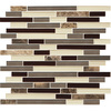 American Olean Mosaic Chateau Emperador Glazed Mixed Material (Stone and Glass) Mosaic Random Indoor/Outdoor Wall Tile (Common: 12-in x 12-in; Actual: 11.75-in x 13-in)