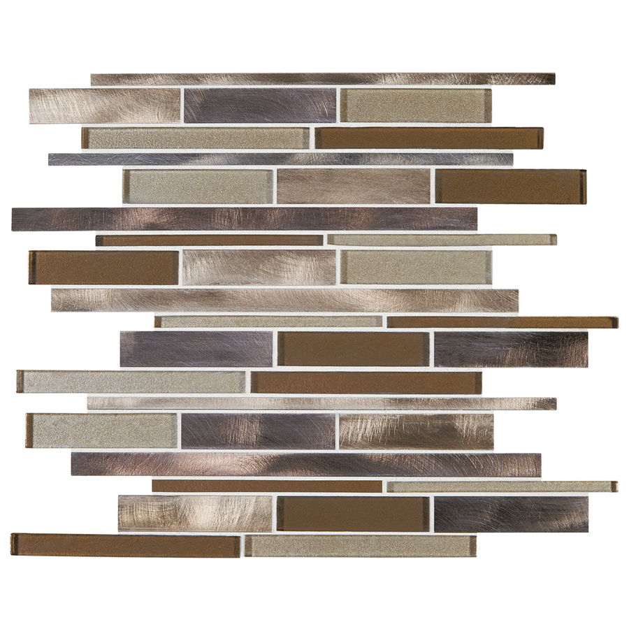 bronze blast mixed glass and metal mosaic indoor outdoor wall tile
