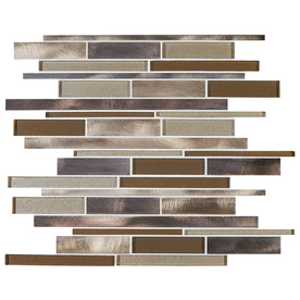 Shop american olean bronze blast mosaic glass and metal wall tile common 12 in x 12 in actual - American tin tiles wallpaper ...